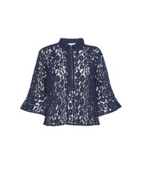 Great Plains - Blue Liz Lace Frilly Peplum Blouse - Lyst