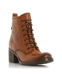 Dune - Brown Leather Lace Up Patsie Ankle Boot - Lyst