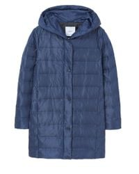 Mango - Blue Feather Down Hooded Coat - Lyst