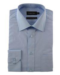 Double Two | Blue Plain Poplin 100% Cotton Shirt for Men | Lyst