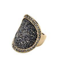 Dyrberg/Kern - Metallic Carly Shiny Gold Grey Ring - Lyst