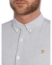 Farah - Gray Brewer Slim Fit Button Down Oxford Shirt for Men - Lyst
