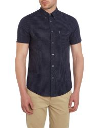 Ben Sherman - Black Classic Gingham Check Short Sleeve Shirt for Men - Lyst
