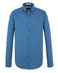 Ben Sherman | Blue Long Sleeve Regular Fit Micro Gingham Shirt for Men | Lyst