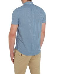 Ben Sherman - Blue Mini Mod Check Short Sleeve Shirt for Men - Lyst