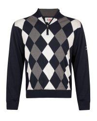 Cutter & Buck | Black Zip Neck Argyle Lined Sweater for Men | Lyst