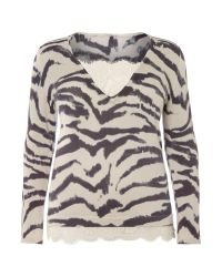 Persona | Black Plus Size Adri V Neck Leopard Knitted Sweater | Lyst