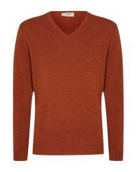 Tm Lewin | Orange Plain V-neck Pull Over Jumpers for Men | Lyst
