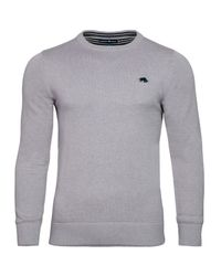 Raging Bull | Blue Plain Crew Neck Pull Over Jumper for Men | Lyst