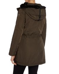 Andrew Marc - Green Parka Style Coat With Faux Fur Lining - Lyst