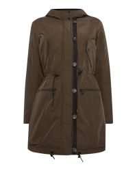 Andrew Marc | Green Parka Style Coat With Faux Fur Lining | Lyst