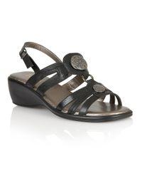 Lotus | Black Berty Open Toe Sandals | Lyst