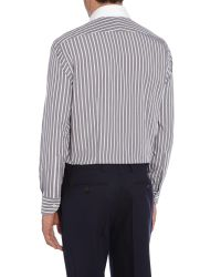 Chester Barrie - Gray Stripe Tailored Fit Long Sleeve Shirt for Men - Lyst