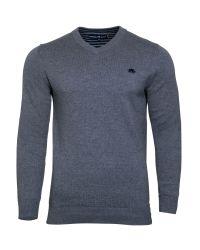 Raging Bull | Gray V-neck Cotton/cashmere Sweater for Men | Lyst