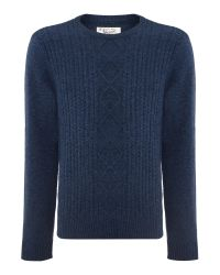 Original Penguin | Blue Dour Aran Cable Sweater for Men | Lyst