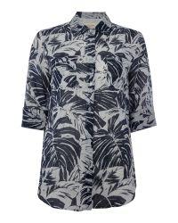 Max Mara   Black Spider Three Quarter Sleeve Leaf Print Shirt   Lyst
