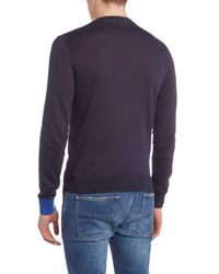 Perry Ellis | Blue College V Neck Contrast Cuff Jumper for Men | Lyst