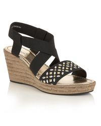 Lotus | Black Chiara Wedge Sandals | Lyst