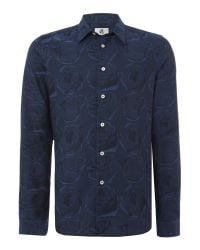 PS by Paul Smith | Blue Tailored Fit Rose Print Long Sleeve Shirt for Men | Lyst