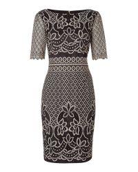 Eliza J | Black Round Neck 3/4 Sleeve Metalic Midi Lace Dress | Lyst