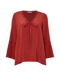 Marella | Red Giugno Silk Blouse With Tie | Lyst
