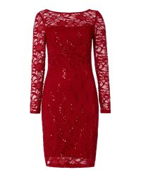 JS Collections | Red Long Sleeve Dress With Sequin Lace | Lyst