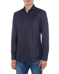BOSS - Blue Jason Jacquard Gingham Shirt for Men - Lyst