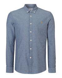 Farah | Blue Steen Slim Fit Button Down Oxford Shirt for Men | Lyst