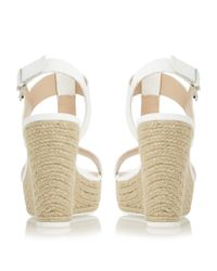 Dune - White Kelby T-bar Espadrille Wedge Sandals - Lyst
