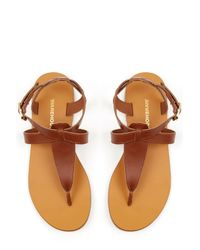 Warehouse - Brown Ankle Strap Toe Post Sandal - Lyst