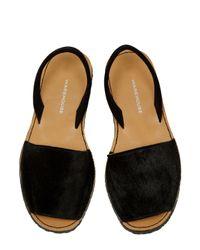 Warehouse | Black Pony Menorcan Sandal | Lyst
