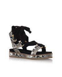 Kurt Geiger | Black Barbon Flat Sandals | Lyst
