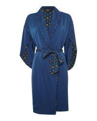Biba | Blue Tile Print Lined Satin Robe | Lyst