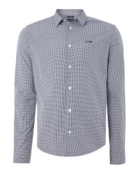 Armani Jeans | Blue Regular Fit Gingham Logo Shirt for Men | Lyst