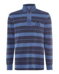Howick | Blue Edmonton Stripe Zip Up Funnel Neck Top for Men | Lyst