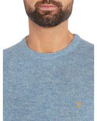 Farah - Blue Rosecroft Crew Neck Lambswool Logo Jumper for Men - Lyst