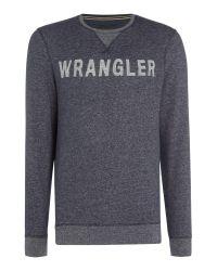 Wrangler | Blue Long Sleeve Crew Neck Logo Sweatshirt for Men | Lyst
