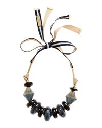 Max Mara | Blue Pavento Large Beaded Ribbon Tie Necklace | Lyst