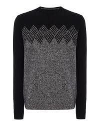 Original Penguin | Black Lambswool-blend Argyle-graphic Knitted Jumper for Men | Lyst