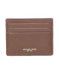 Michael Kors   Brown Harrison Saffiano Leather Card Holder for Men   Lyst