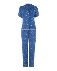 Nora Rose | Blue Aoe Dot Print Pyjama Set | Lyst