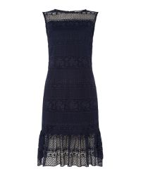 Shubette   Blue Sleeveless Lace Dress With Kick Hem   Lyst