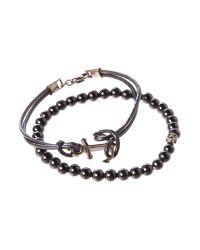 Simon Carter | Black Anchor Bracelet With Mini Skull Onyx Set | Lyst