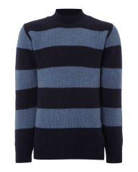 Soulland   Blue Mansour Striped Crew Neck Knitted Jumper for Men   Lyst