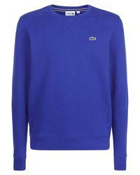 Lacoste | Blue Crew Neck Fleece Sweatshirt for Men | Lyst