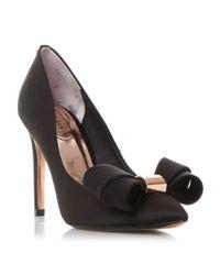 Ted Baker | Black Ichlibi* Satin Bow Court Shoes | Lyst