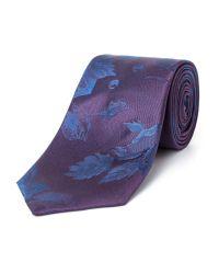 Paul Costelloe - Purple Fleet Floral Silk Tie for Men - Lyst