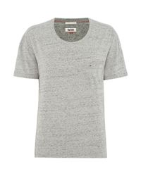 Tommy Hilfiger | Gray Thdw Basic Scoop Neck Top | Lyst