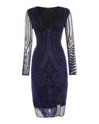 Lavish Alice   Blue Long Sleeved Embroidered Bodycon Dress   Lyst