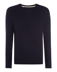 SELECTED | Blue Cable-knit Crew-neck Wool Blend Jumper for Men | Lyst